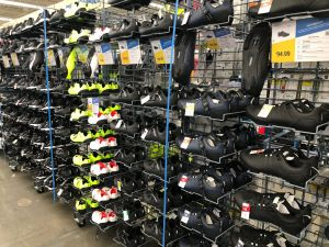 The Emeryville store features a wide selection of house-brand footwear for most sports, including cycling.