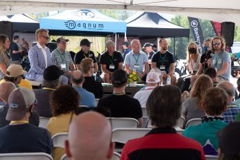 Tuesday's state of the bike industry panel drew a lot of people.  Billy Michels Photography