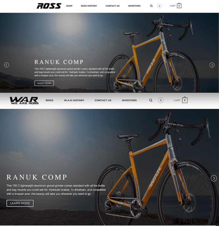 Rossbikes.com as it appeared earlier this year (top) and this week (bottom).