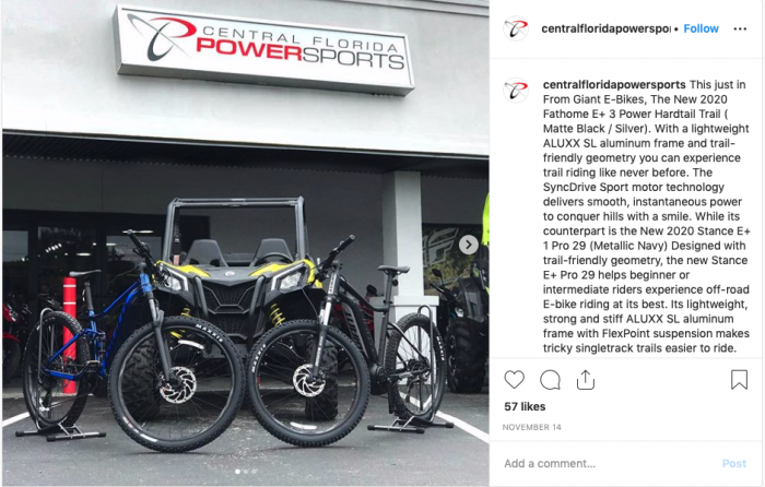 Central Florida Powersports began selling Giant e-bikes in March.