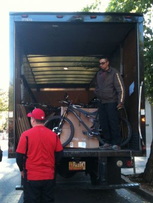 """We needed to get a lot of bikes to the top of the Winsor so I asked UPS for help,"" said Preston Martin, BTI's vice president. ""So many guys in management at UPS in Santa Fe ride that their first response was sure, we can make that happen. So they committed drivers and trucks on Saturday to move bikes,"" he added. The city of Santa Fe contributed city busses to drive the 15 miles to the top of the Winsor trail to get the riders up there. Photo: Bill Lane"