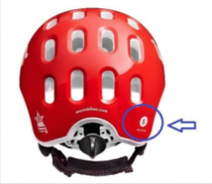 The Woom helmet size is marked on the rear. Only size Small is being recalled.