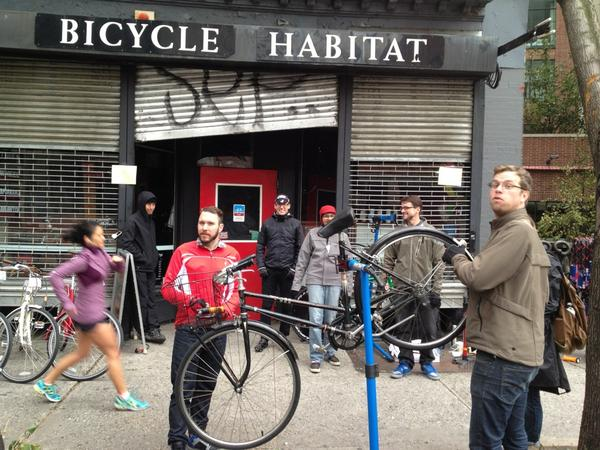 New York's Bicycle Habitat operated without power after Sandy.