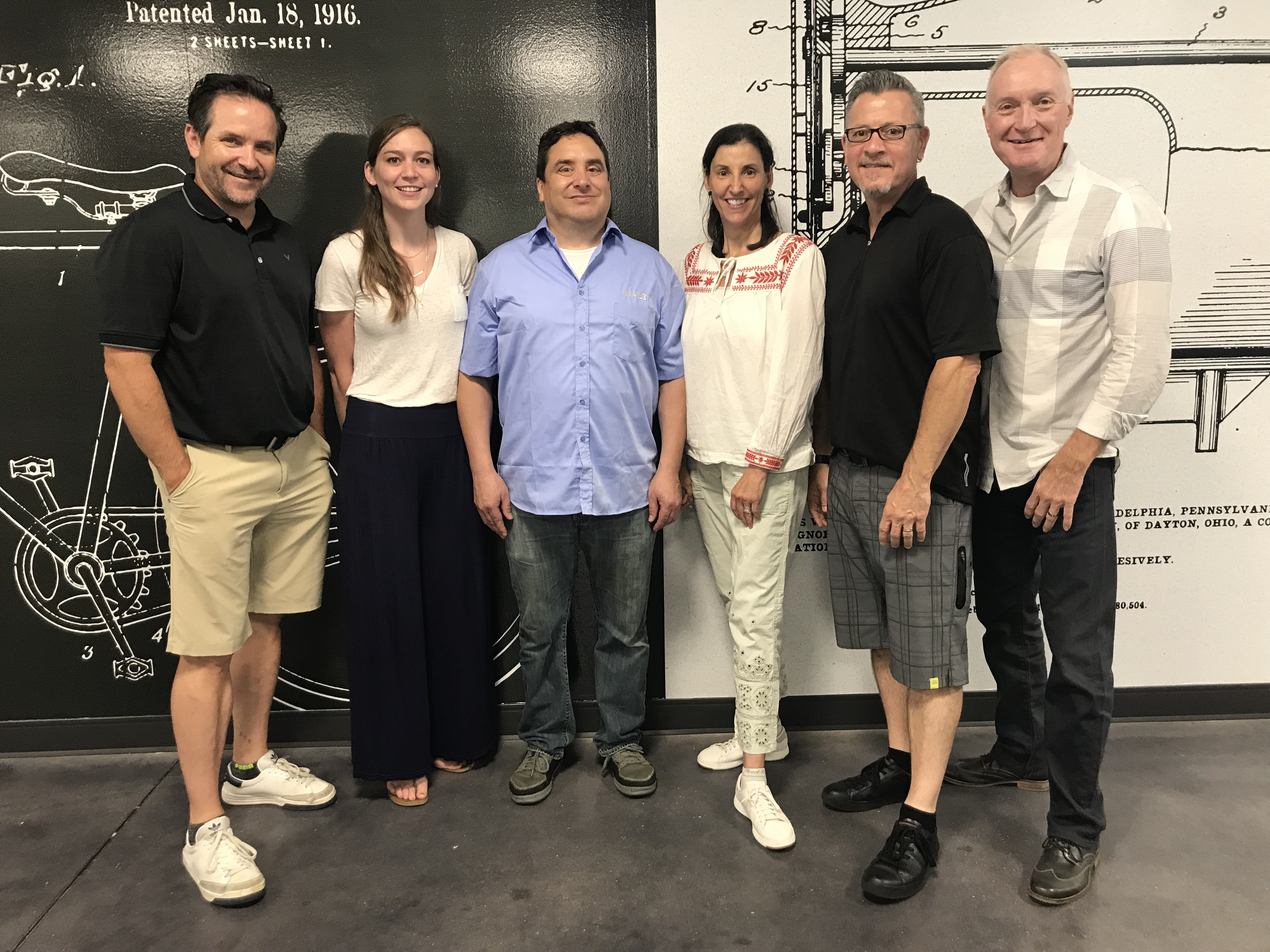 Huffy has hired 26 new employees in 2018 as it launches new brands, including the Batch Bicycles staff. Left to right: Bruno Maier, Kristina Borchert, Joe Atocha, Dorothy Pacheco, Chris Keller and Huffy president and CEO Bill Smith.