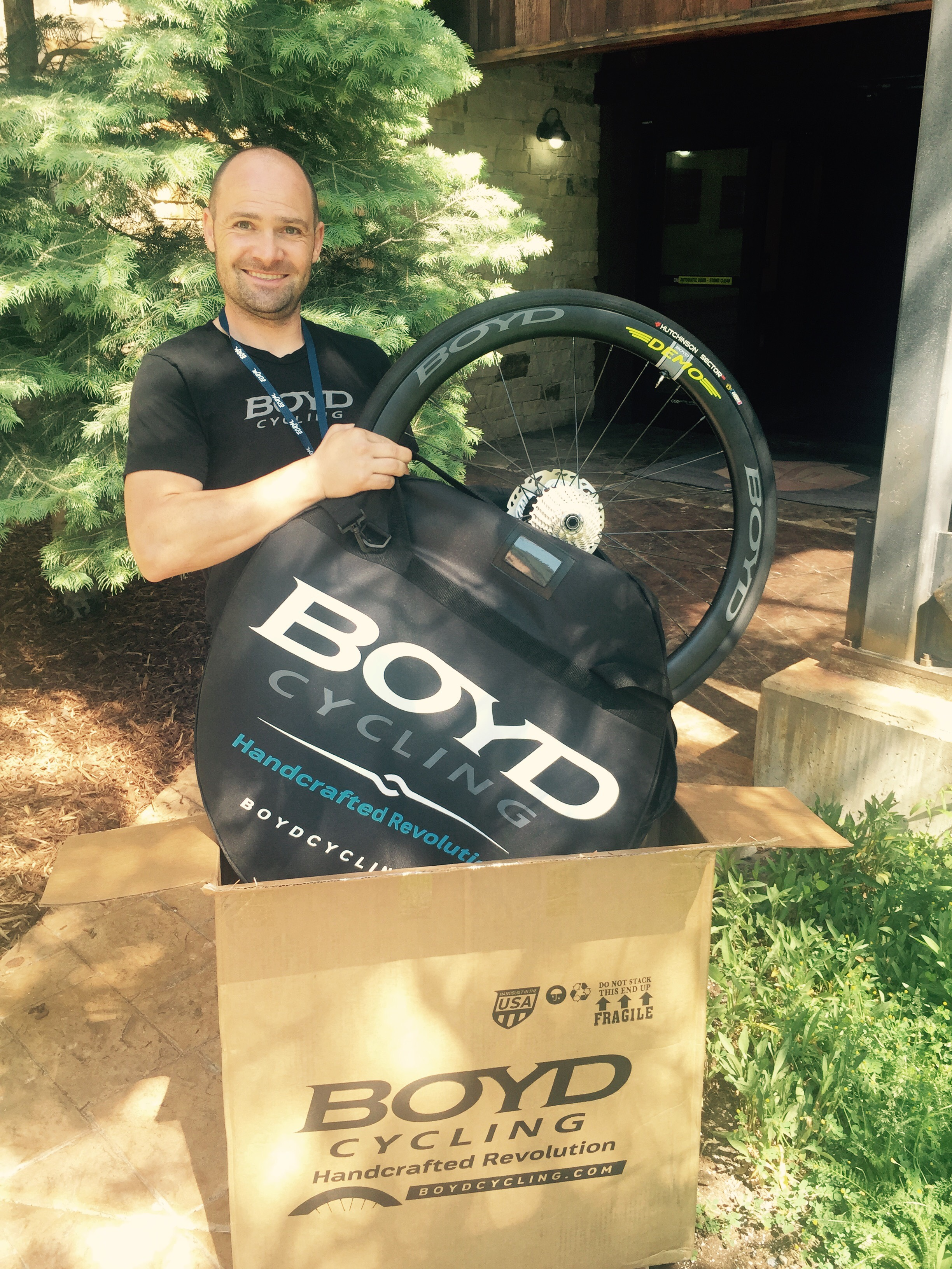Boyd Johnson of South Carolina wheel maker Boyd Cycling is preparing to roll out a new Ready to Ride program, where both dealers and consumers can order complete sets of wheels with tires, tubes or tubeless setup, cassette and disc brake rotors already installed and, well … ready to ride. Rollout is targeted for Aug. 1. Wheels will ship in a double wheel bag. Tire options will include Schwalbe for road, Hutchinson for cyclocross, and Maxxis for mountain.