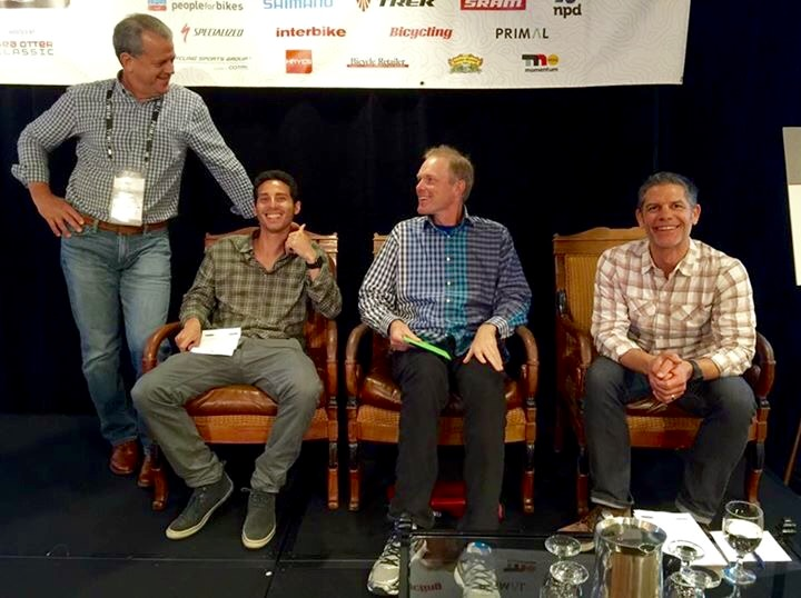 Moderator Pat Hus (left), and panelists (L-R) Michael Fishman of Pure Cycles, Erik Saltvold of Erik's Bike and Board, and Columbia Sportswear's Russ Hopcus, all showed up in plaid for Thursday's omnichannel panel discussion.