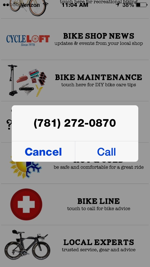 The 'Bike Line' link brings up Cycle Loft's phone number.