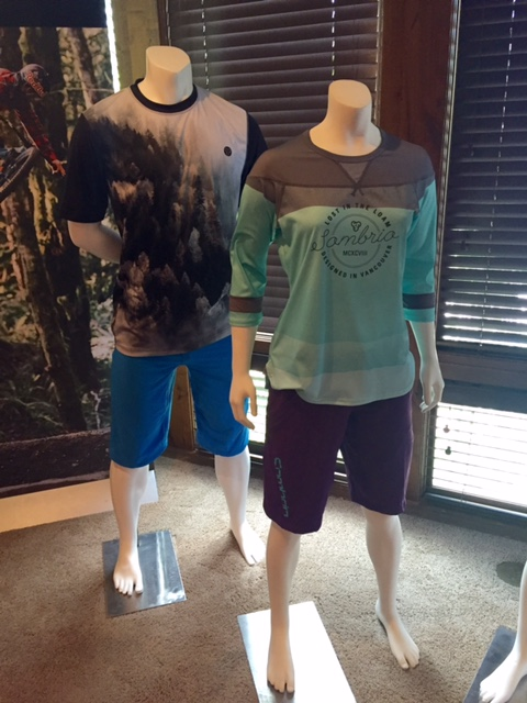 Sombrio showed the tree-print men's Renegade jersey and Badass short, which is new for 2017, (left) and the women's Noble jersey and best-selling Val short.