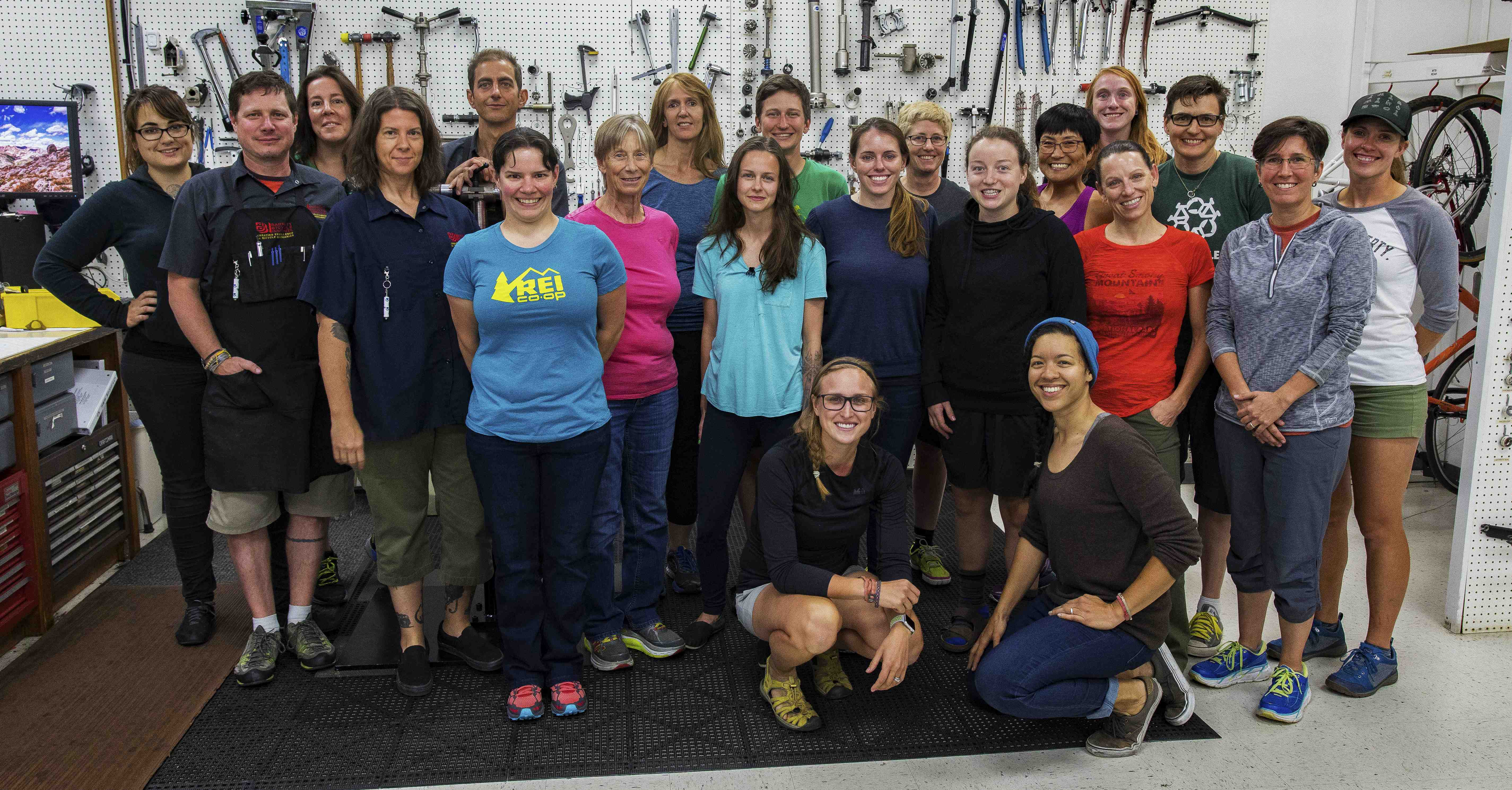Barnett's Bicycle Institute held its first women's-only class in early August. Sixteen women who work at REI attended the two-week class. Susie Stevens, interviewed for this story, is pictured second from the right, second row from bottom.