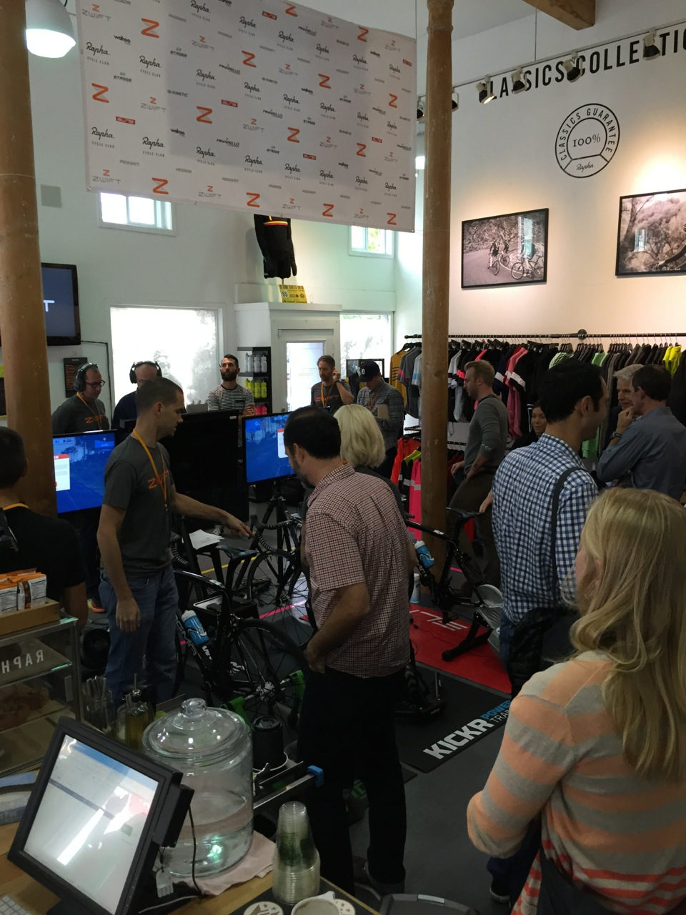 Cycling and non-endemic media packed into the Rapha Cycle Club store for the Zwift launch.