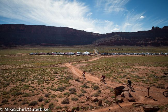 Outerbike is held next to the Brand trails trailhead, north of Moab. Photo: Mike Schirf