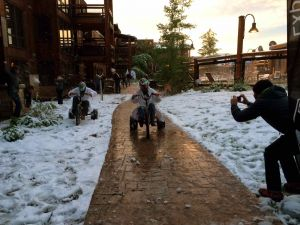 The flip cup finalists duke it out on big wheels while getting pelted by snowballs. Protective gear provided by Kali.