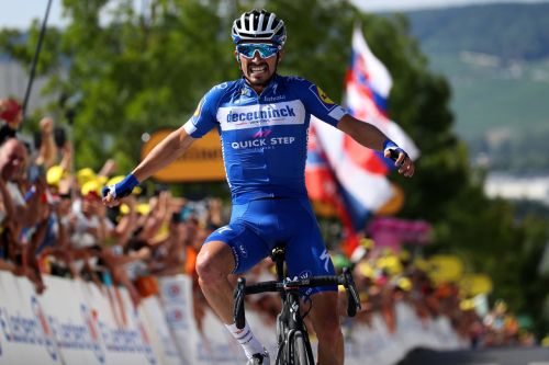 Alaphilippe's win Monday. Photos courtesy of DeFeet.
