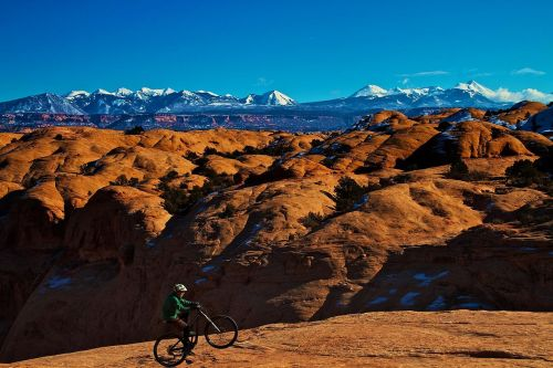 A rider on the Slickrock Trail. Wikicommons photo.