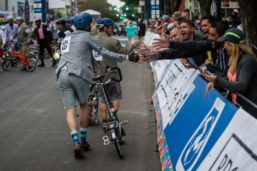 Racers come out in their finest attire for the Brompton race.