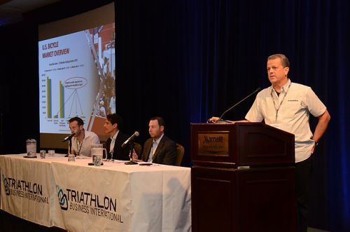 Interbike managing director Pat Hus was a panelist discussing trends and horizons in triathlon Monday morning. Photo Gary Newkirk.
