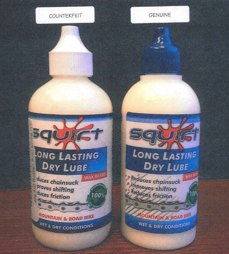 Counterfeit (left) and real Squirt Lube.