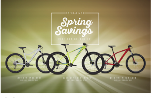 Specialized's sale goes live on Tuesday.