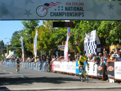 Bill Watkins crosses the finish line to win the 2011 USA Cycling Masters Road Nationals Criterium Championship in Bend, Oregon, riding a Serotta.