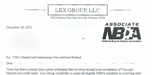 The top of a letter Lex Group sent to a retailer.