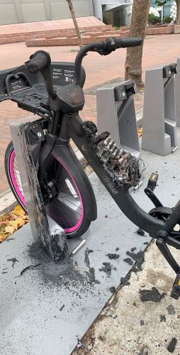 This Lyft e-bike caught fire in July. Photo courtesy Zach Rutta.