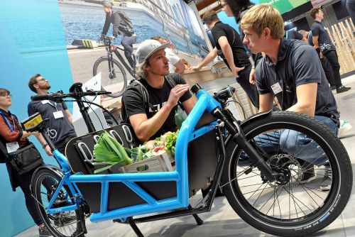 Bosch displayed an e-cargo bike at Eurobike. Photo courtesy Eurobike Friedrichshafen.