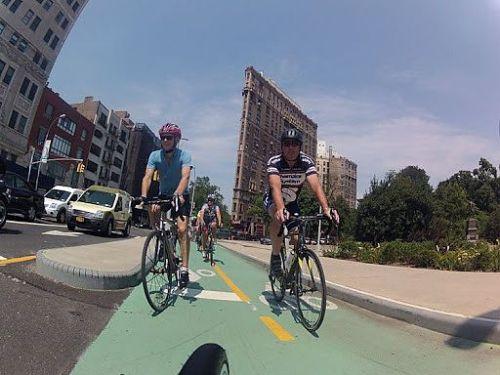 Riders on a New York City green lane last summer.