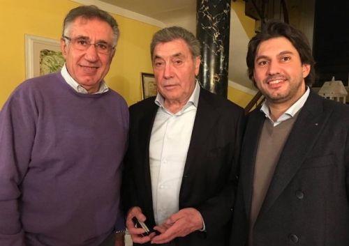 (l to r): Celestino Vercelli, Eddy Merckx, Edoardo Vercelli.