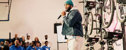 LeBron James made a surprise appearance Tuesday at the Harlem YMCA.
