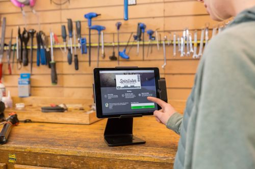 Spinlister's kiosk bike rental system works with nearly any iOS tablet.