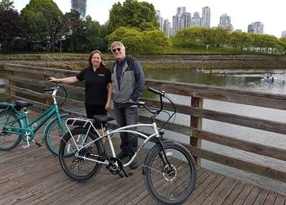 Ann MacLennan, owner of Pedego Vancouver, with Don DiCostanzo, Pedego CEO