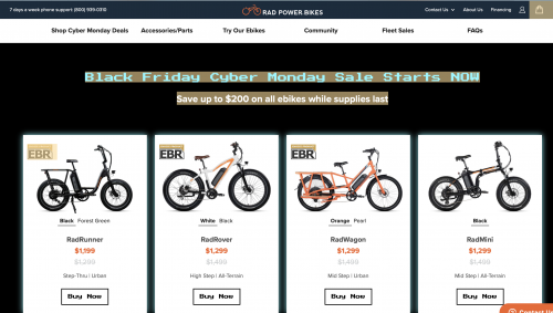 Rad Power is promoting discounts, but not because of any tariff news.