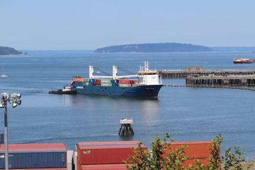 The MV Eemslift Nadine arriving at the Port of Everett on Monday. Photo: Leland Dart