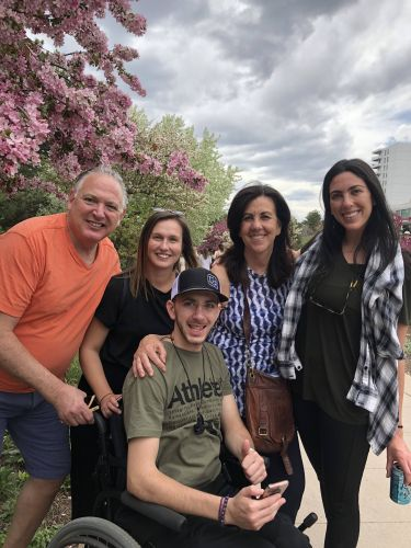 Steven Goldmeier (left) with Alex, Alex's college friend, his mom Debbie, and his sister Julie (far right)