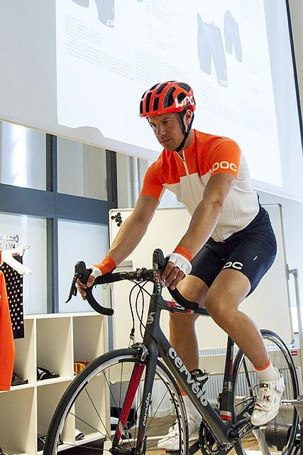 A model demonstrates POC s new Octal road helmet and road apparel. 4211e7de6