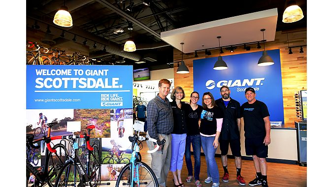 From left: Giant Scottsdale owner Rick Marquis, manager Cindy Lacotta, assistant manager Claire Moty, sales staffer April Vanderford, service manager Jeff Nunno and sales staffer/mechanic Wade Risinger celebrated the store's grand opening Jan. 25-26.