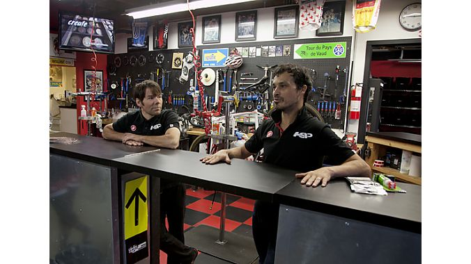Former pro road racers Todd Herriott (left) and David Richter opened Herriott Sports Performance five years ago to bring bike fitting, training and a pro retail shop under one roof. A recent expansion has afforded HSP a much larger retail space, which includes an open-air service area that has become a focal point. Fitting, coaching and training happen next door in the studio, which includes spin classes, medicine ball training, and conditioning using the Norwegian Red Cord core strengthe