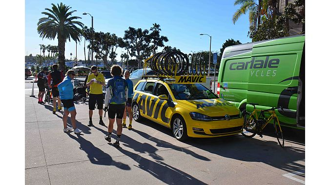 With support from Dealer Tour sponsors Mavic and Cannondale, the group readies to depart from Marina Del Rey for its daylong, 37-mile journey across Los Angeles to Pasadena.
