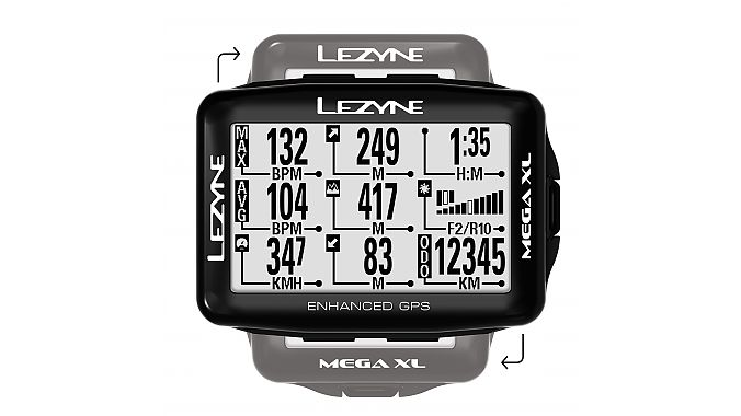 Lezyne's Mega XL GPS can be oriented either horizontally or vertically.