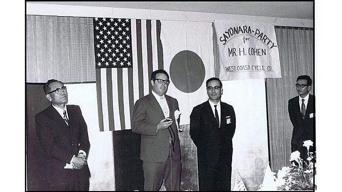 "Maruka Machinery Co. in Japan hosted a ""Sayonara Party"" for Cohen in May 1971 after his lengthy stay developing bicycles and components for the American Eagle and Nishiki bicycle lines and West Coast Cycle's parts and accessories programs. Left to right: Yukio Kawamura (Higesan), president of Kawamura Cycles; Howie Cohen; and Okamoto-san & Otsuka-san, both from Maruka."