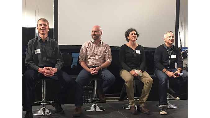 A panel discussed trail access, education and policy for electric mountain bikes at the BPSA PeopleForBikes E-Bike Summit held last Friday at Shimano's headquarters in Irvine. From left: IMBA's Dave Wiens, Haibike USA's Ken Miner, PFB's Leslie Kehmeier and Trek's John Riley.