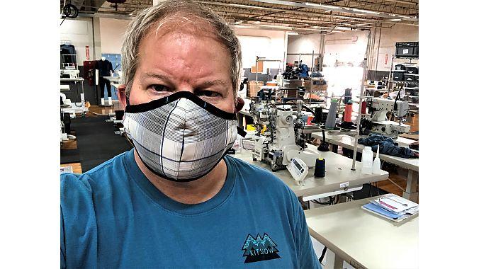 Kitsbow CEO David Billstrom models the Kitsbow face mask.