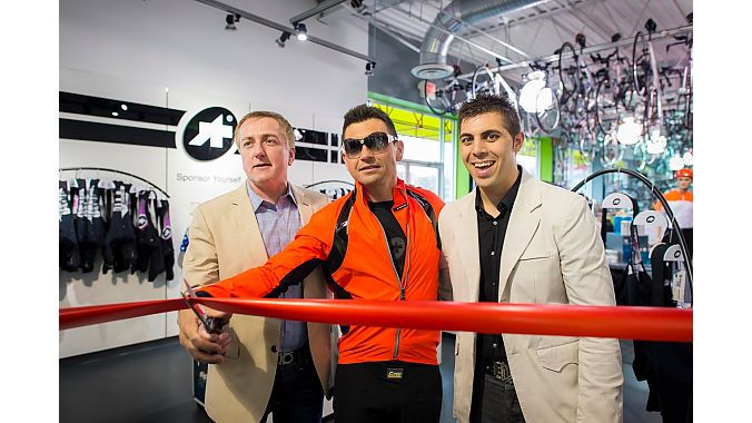 Fresh Bikes ProShop ribbon cutting (L to R: Scott Mcahren, store owner; Andrea Zamboni, Assos model; Jason Walder, Fresh Bike GM.)
