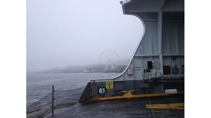 It was a damp and foggy departure from Seattle on the ferry to Bainbridge Island.