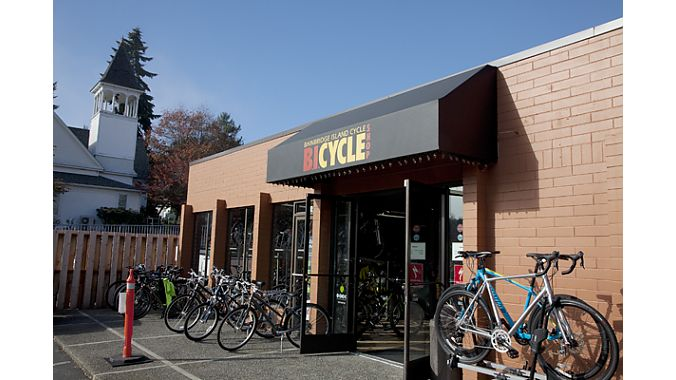 …  But it was gloriously sunny by the time we reached Tom Clune's Bainbridge Island Cycle.