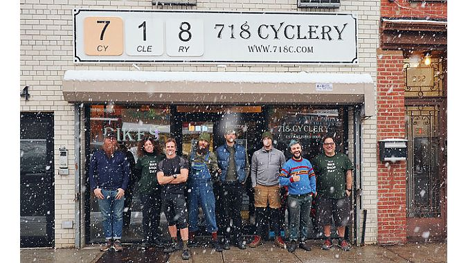 718 Cyclery's Joe Nocella (far right) and his staff organized Bike Shop Day to celebrate the IBD.