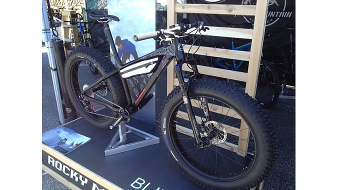 "OK, we fully understand if you're suffering from fat bike fatigue at this point, but we'd be remiss if we ignored Rocky Mountain's new 4.7-inch-tired, front-suspension Blizzard ""trail-specific"" bike. ""We want it to feel like a true mountain bike,"" said brand manager Brandon Crichton. It's spec'd as a one-by rig with a custom 24-tooth chainring from Race Face, but has provisions for a front derailleur and double-chainring setup. The new RockShox Bluto delivers 100 millimeters of front travel, and bosses on t"