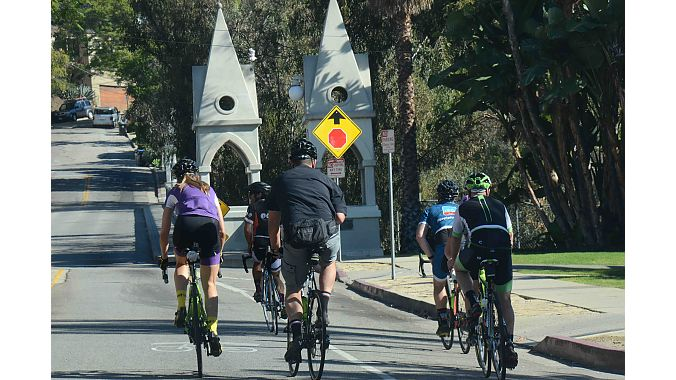Tour riders crossed the Gothic-style Shakespeare Bridge in Los Angeles' Franklin Hills section. Built in 1926, the bridge was designated a Los Angeles Historical-Cultural Monument in 1974.