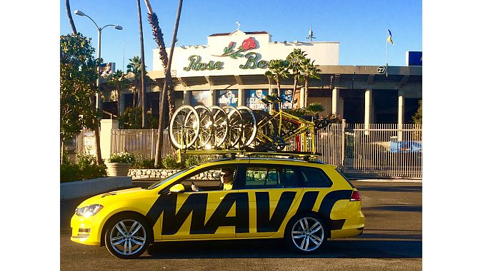 The Mavic neutral support car takes a break in front of the Rose Bowl in Pasadena, where road riders pedal hot laps around the stadium on Tuesday nights.