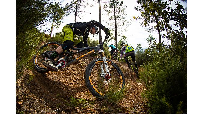 Steve Peat puts the 27.5-inch sled through its paces at Cap D'Ali in Provence, France.